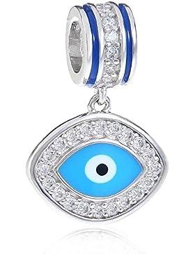 Blau Evil Eye Charm massiv 925Sterling Silber lucky Bead Charms für European Armband Halskette