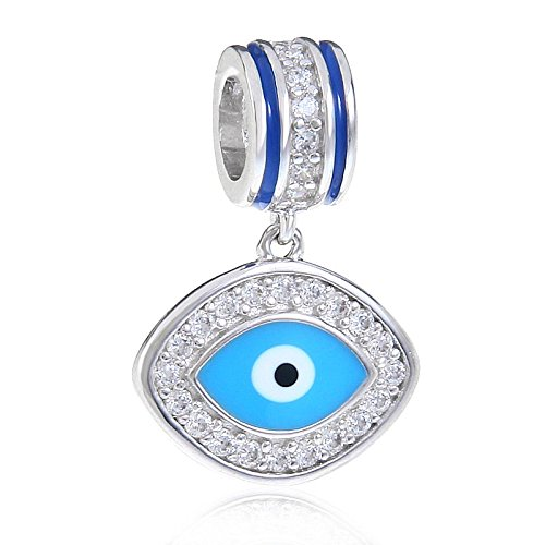 Blue Evil Eye Charm Solid 925 Sterling Silver Lucky Bead Charms for European Bracelet Necklace swidLdRuP