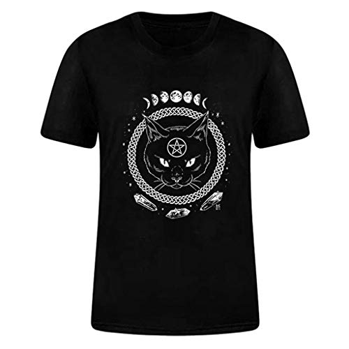 Damen Tee Shirt Gothic Cat Print Girl Funny Short Sleeve Baumwolle Shirts Cute Junior Graphic Tee Top Bluse - Mehrfarbig - Klein