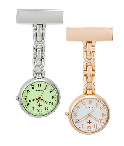 SEWOR Nurses & Doctor Luminous Hanging Pocket Watch 2pcs with Deep Blue Brand Leather Box Great Gift (Rose Gold)