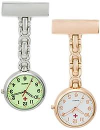 SEWOR reloj para Enfermeras Y médico colgante luminoso reloj de bolsillo–con profundo azul marca piel caja gran regalo
