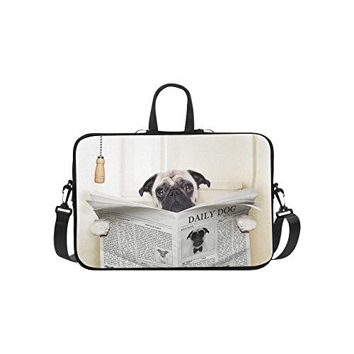 Hund lesen Zeitung oder Zeitschrift Muster Aktentasche Laptoptasche Messenger Schulter Arbeitstasche Crossbody Handtasche für Geschäftsreisen -