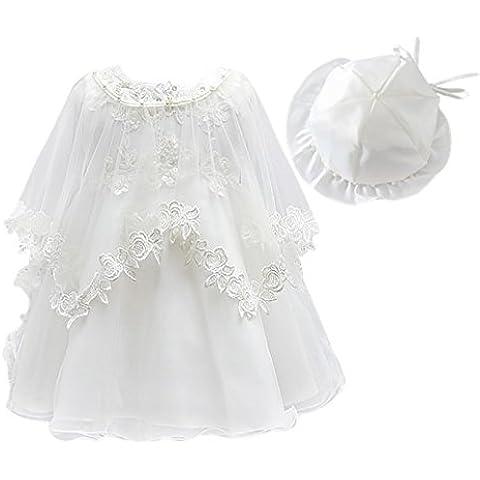 Happy Cherry (Set/3 Piezas) Beige Vestido de Princesa con Capa y Sombrero para 0 - 6 Meses Bebé Niñas Fiesta Boda Cumpleaños 3 Tallas a Elegir