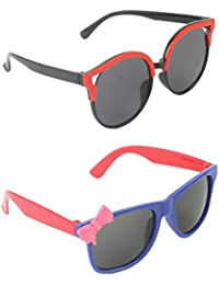 Stol'n Kids Oval And Bow Sunglasses Combo Pack Of 2 Pieces For Girls/Black And Red/Blue And Red