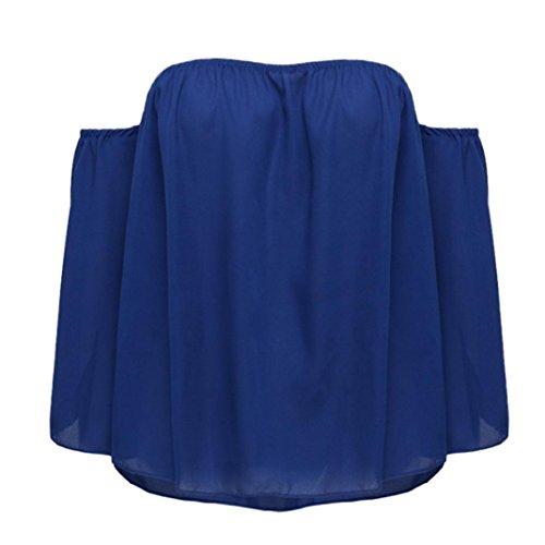 OVERDOSE Damen Frauen Arbeiten Trägerloses Weg von der Schulter Das Wort Kragen Chiffon Tops Hemd-Bluse Grün S/M/L/XL B-Blau