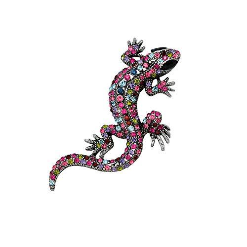 Prinzessin zu Stolberg Serie - Handgearbeitete, Gecko | Salamander Brosche mit farbigen Zirkonia Kristallen -