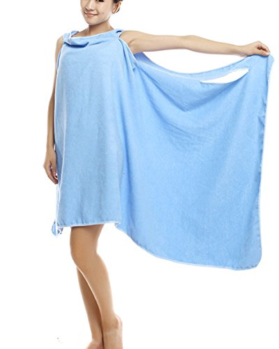 Serviettes de bain,Wearable bath towel Lady absorbant sec rapidement Super Soft, microfibre peignoir serviette tout en un bleu OneSize