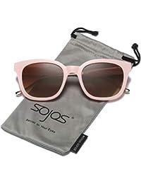 SOJOS Gafas De Sol Unisex Hombre Mujer Clásico Retro Cuadrado Polarizado  SJ2050 ecc260b29d42