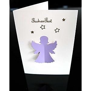 Weihnachtskarte, Faltkarte, Engel, Handarbeit mit Umschlag