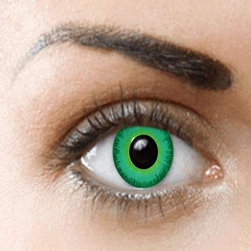 PHANTASY Eyes® Farbige Kontaktlinsen, Ohne Stärke (Grüne Elfen) perfekt zum Halloween, festival und Karneval, Jahres Linsen, 1 Paar crazy fun Contact linsen + - Funky Elfen Kostüm