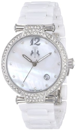 Jivago Women's Swiss Quartz Stainless Steel and Ceramic Casual Watch, Color:White (Model: JV2210)
