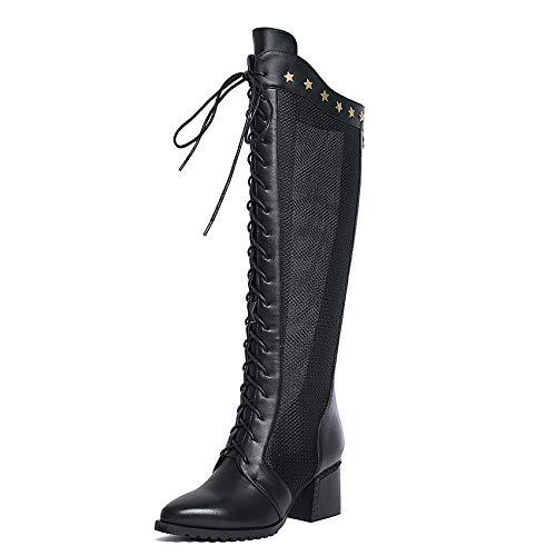 Ferse Damen Lace Up Stiefel (HOESCZS 2019 Frauen Stiefel Aus Echtem Leder + Pu Kniehohe Reißverschluss und Lace Up Spitz Platz Hoch Ferse Damen Stiefel Größe 34-42)