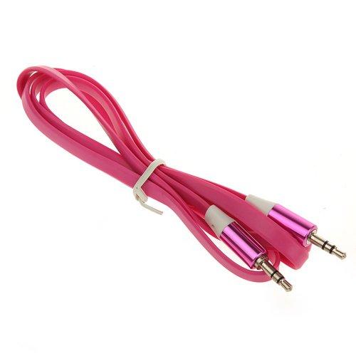 AUX KABEL Flachkabel für Samsung Galaxy s5 mini, HTC M8 mini, LG G3, Iphone 6 (4.7), Sony Xperia Z3, Galaxy Note 4, Samsung alpha, Sony Xperia Style , Sony Xperia Z3 mini, STEREO AUDIOKABEL 3,5mm Klinke MP3 MP4 AdapterMusik Smartphone Kopfhörer Stecker Klinke Audio Musik (Pink)