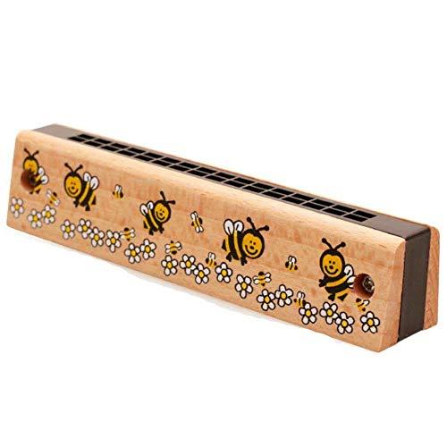 Fliyeong Kinder Cartoon Holz Mundharmonika Musikinstrument Pädagogisches Spielzeug 16 Löcher Mundharmonika Spielzeug für Kinder Zufällige Farbe 1 Stücke