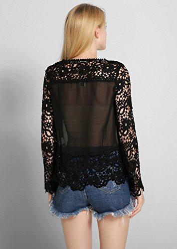 Minetom Femme Col Rond Manches Longues Blouse Dentelle Crochet Hauts Chemise Élégant Creux Shirt Noir