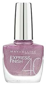 Maybelline New York Make-Up Nailpolish Express Finish Nagellack Dia Mauve / Ultra schnelltrocknender Farblack in glitzerndem Lila, 1 x 10 ml