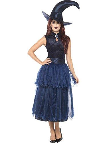 Smiffys Damen Mitternacht Hexen Kostüm, Kleid, Linsenförmige 3D Brosche und Hut, Größe: 40-42, 45112