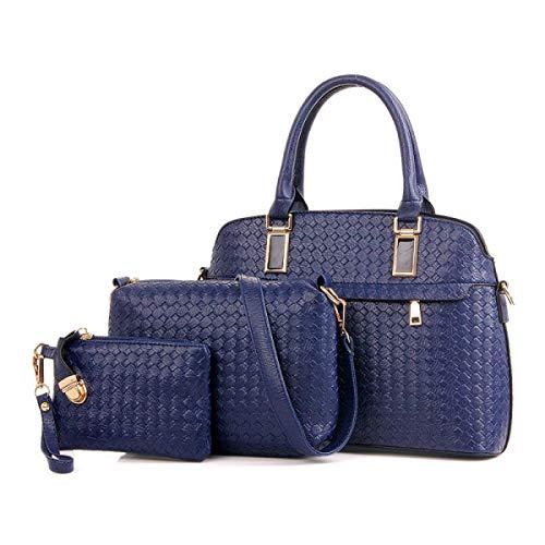 Yisaesa dreiteilige Mutter und Sohn Paket Europa und die Vereinigten Staaten Mode Stricken Muster Handtaschen (Farbe : Blau, Größe : -)