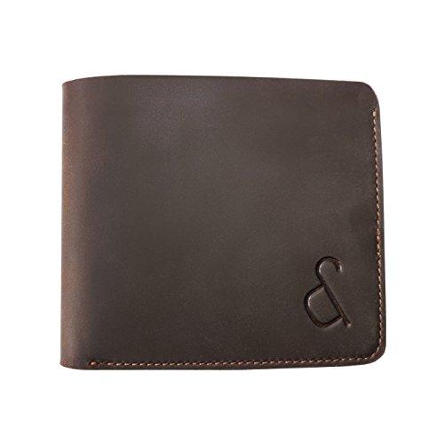 Grant & Scott Luxueux portefeuille mince en cuir véritable Cheval Fou avec protection RFID