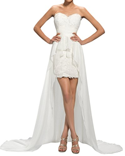 Sunvary a-line Sweetheart alta bassa Fiesta ballo del con vestito da sera capilla treno Bianco