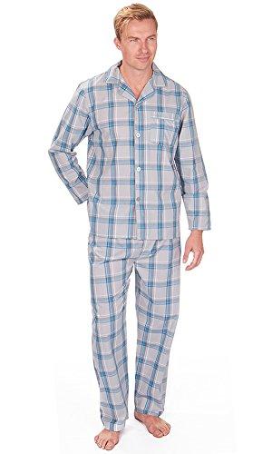 Mens, Die Traditionelle PJ Schlafanzüge Sets Nachtbekleidung PJ 2-teilig Pyjama Set Herren M-XXL Grey Check Yarn Dyed