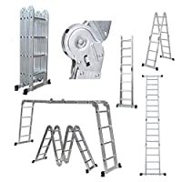 Telescopic Ladder Aluminium Extendable Portable Multi-Purpose Ladder Safety Locking Max Load 150kg for Outdoor Indoor Builder DIY Multi-Function Ladder