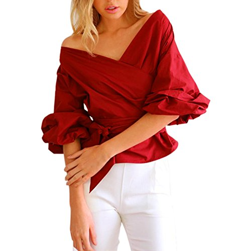 LAEMILIA Femmes Chemise Automne Manches Longues Sexy Epaule Nue Col V Chemiser Casual Pull Tops Blouse Shirts Rouge