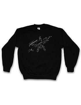 AK47 Blueprint Sweatshirt – Fotocalco Azul Cianotipo Fusil Ametralladora AK 47 74 Gun MG Machine Automatic Rifle...