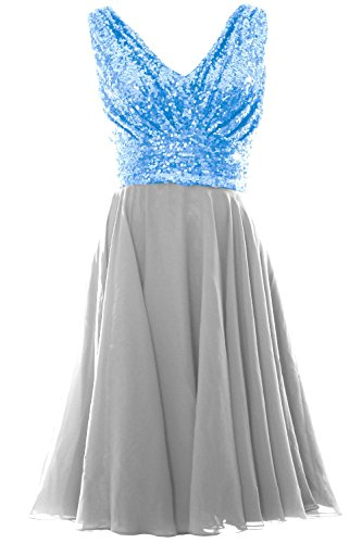 MACloth Women V Neck Sequin Chiffon Short Bridesmaid Dress Formal Evening Gown Sky Blue-Silver