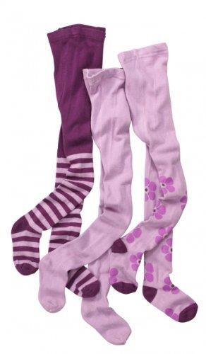 Kinder-Strumpfhosen für Mädchen 3er Set | Baby-Strumpfhosen lila | hoher Baumwoll-Anteil | Größe 62 - 146 | von wellyou