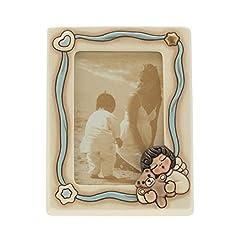 Idea Regalo - THUN K2938H98 Portafoto Angel Boy, Ceramica, Blu Soft, 18 x 21 x 5.9 cm