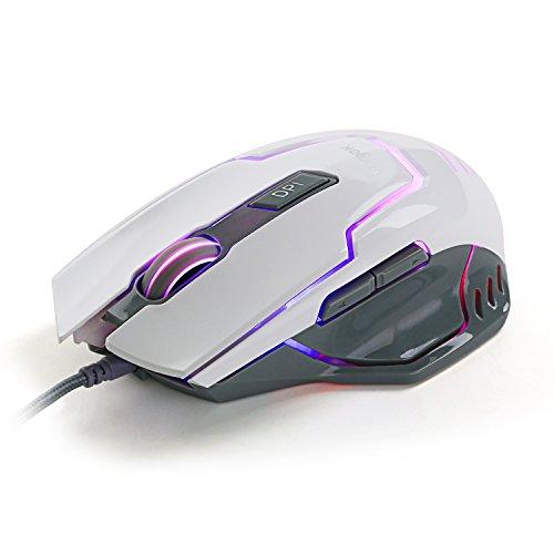 Gaming Maus, Vogek Gamer Mouse mit Kabel, Optische Kabelgebundene Beleuchtete Funkmaus, 7 Programmierbaren Tasten, 1000/1500/2000/3000/4000 DPI Einstellbar, Grau und Weiß -