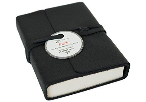 Italien Kleines Leder (LEATHERKIND Picolino Leder Notizbuch Schwarz, Kleines Blanko Seiten - Handgefertigt in Italien)