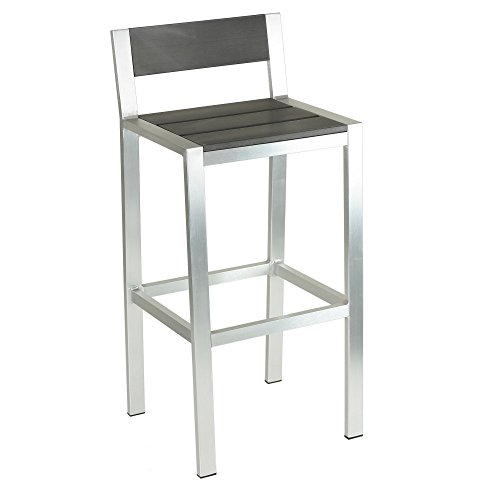 Cortesi Home Haven Aluminum Outdoor Barstool in Slate Grey Poly Wood, Brushed Nickel
