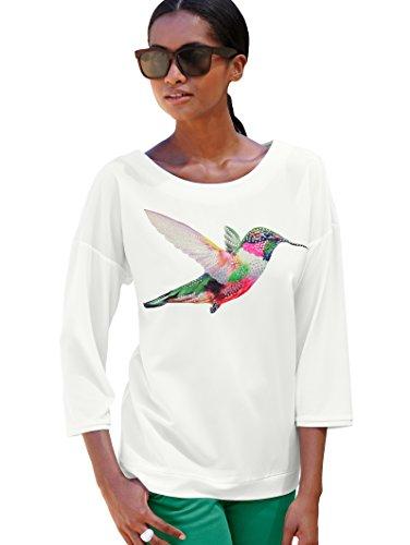 Alba Moda Damen Strandshirt Single Jersey Shirt mit Kolibridruck (Klingel-jersey-shirt)