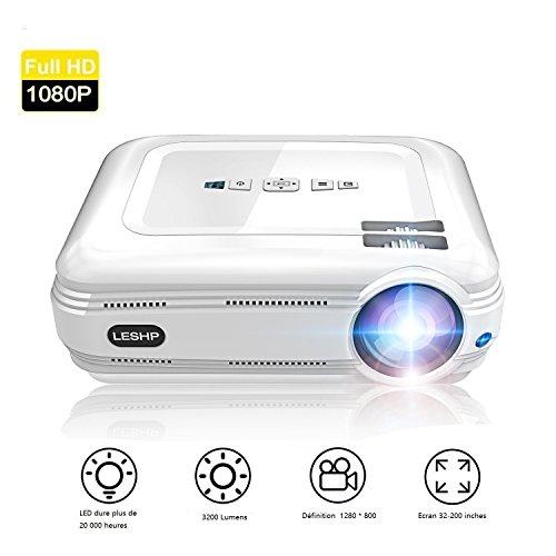 3200 lumens Beamer, LESHP Full HD 1080P Video Beamer LED+LCD Heimkino Videoprojektor 1280 × 800 max Auflösung Kontrast 3000:1,Support 1080P / USB / VGA / SD / HDMI für Xbox / iphone / Smartphone / PC (Blu-ray-player Iphone)