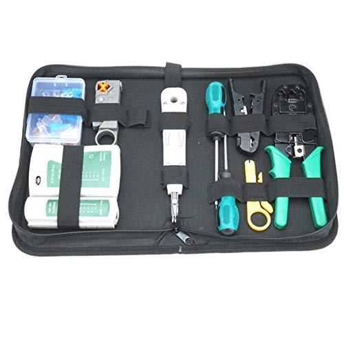Rcque Kabelreparatur-Wartungstool-Set 9-in-1-Kabel-Crimpwerkzeug DREI-Netzwerk-Crimpwerkzeug mit Tasche