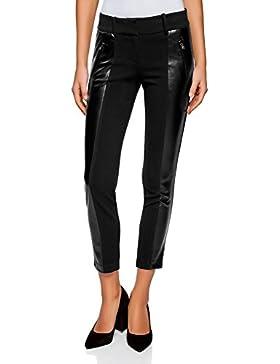 oodji Ultra Mujer Pantalones Estrechos con Detalles de Piel Sintética