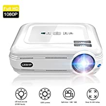 Proyector de Vídeo, LESHP LED Proyector Portátil 3200 lumens Full HD 1080p proyector para Home Cinema (Altavoz Incorporado, con USB/ HDMI/ VGA/ AV, para PC Computadora Xbox)