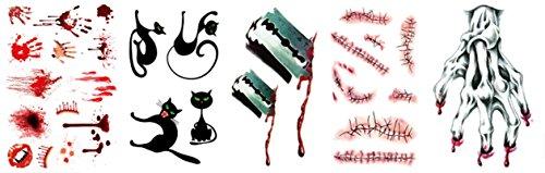 AMDXD Schmuck Narben Halloween Set Tattoos Aufkleber Halloween Kostüm Schwarz Katze Skelett Hand Make Up Halloween Blut Deko