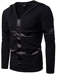 12cc9f771b1a Hommes Mince Hoodie Pull Patchwork Slim Sweat À Manches Longues Outwear  Casual Top Blouse…