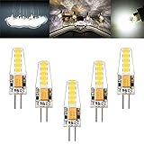 Lianqi 3W 10LED 2835SMD Lampen, 107D Kondensator, DC/AC 10-20V, 300LM, Ersatz für G4 30W Halogenlampen, LED Leuchtmittel 360° Abstrahlwinkel, LED Birnen Kaltes Weiß 6000K, 5er Pack