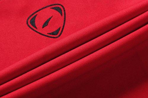 jeansian Uomo Moda Formazione Manica Lunga Sportivo Casuale Palestra Fashion Tee T-Shirts Camicie LA129 Red