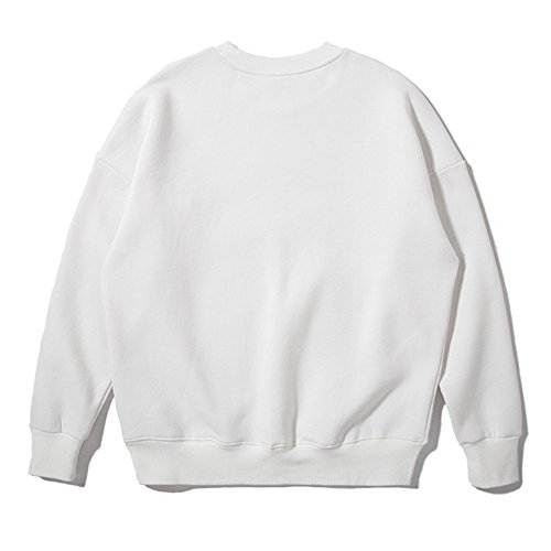 Hoodies Hommes Femmes - Sweat Automne Blouses Solides Tops Couple Manches Longues Blanc Jaune Gris Noir Abricot Vert Orange S-2XL Yying Blanc