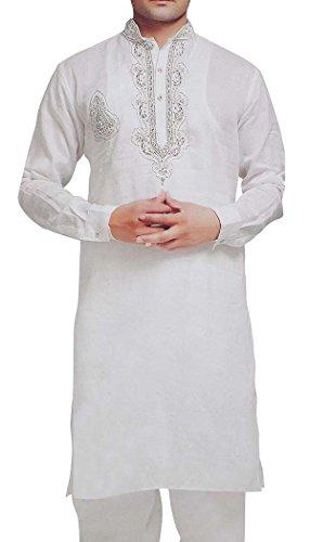 INMONARCH Mens weiße Bettwäsche Kurta Pyjama für Trauzeugen KP6053X-LARGE X-Large Weiß -