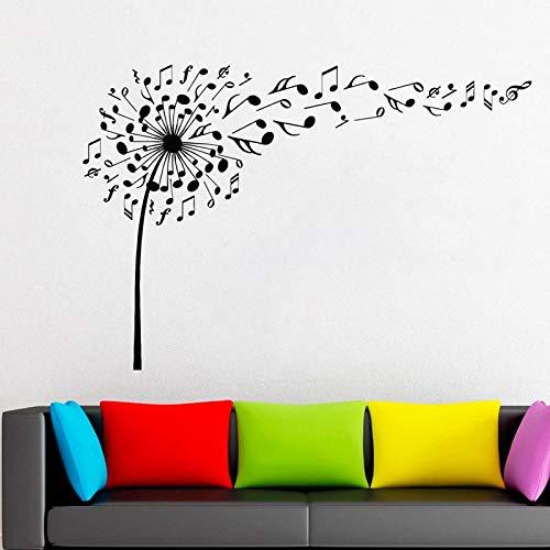 hllhpc Löwenzahn Wandtattoo Vinyl Aufkleber Decals Natur Blume Musik Noten Boho Bettwäsche Dekor Schlafzimmer Wohnzimmer Stickers57 * 84 cm (Weiße Bettwäsche-schrank-glas-türen)