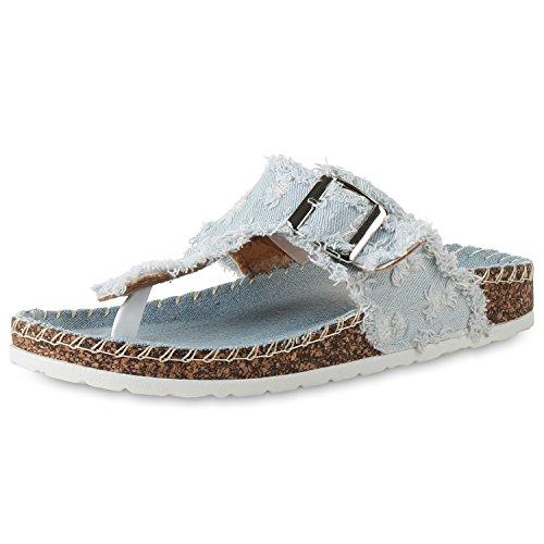 SCARPE VITA Damen Sandalen Zehentrenner Hausschuhe Denim Fransen Komfort Schuhe 159686 Hellblau Weiss 37 (Fransen Schuh)