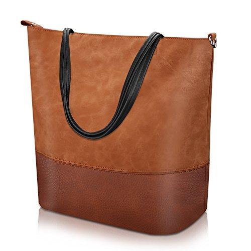Proking Mujer Bolso de Mano Grande Bolso de Hombro Bolso Tote Bag Bolsos Shopper Bolso de cuero de...