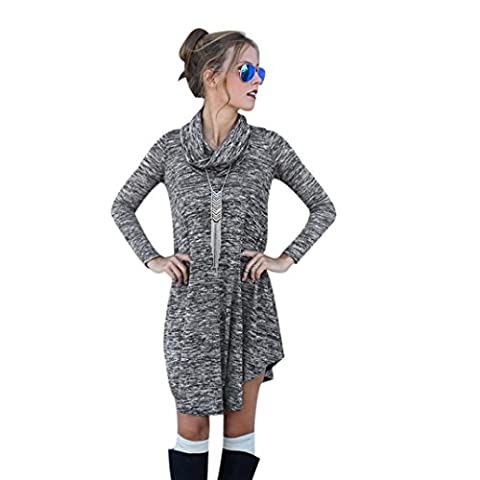 Womens Jumpers, Ouneed Long Sleeve Knit Jumper Pullover Winter Sweater Dress For Women (S, Gray)