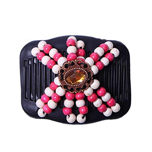 Bobury Femmes Diapo Ronde Perles Stretchy Barrette géométrique Bois Perles de Cristal en Plastique élastique Hairpin